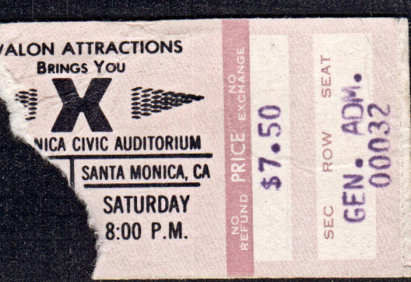 X Ticket Stub 1980