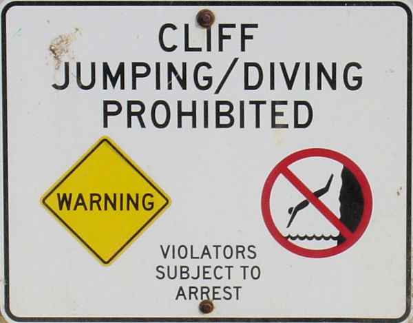 Cliff Jumping / Diving Prohibited