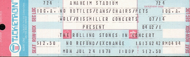 Rolling Stones Ticket July 24, 1978